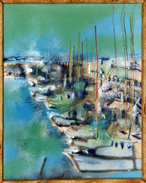 harbor scene created in enamel on copper