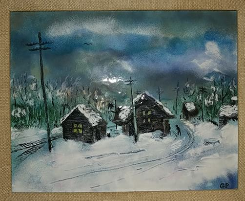 snow scene created in enamel on copper
