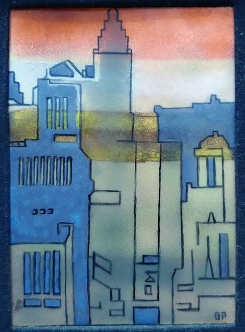 cityscape in enamel on copper