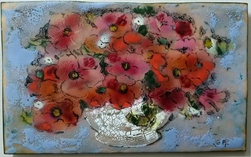 still life in enamel on copper