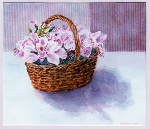 Geneva's watercolor of a basket of orchids Pat had sent to her, painting sold to R Wolfe