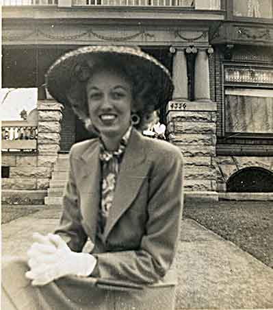 G at Easter, probably 1944, in front of her mother's house at 4356 West Pine Ave (purchased Sep 1942)