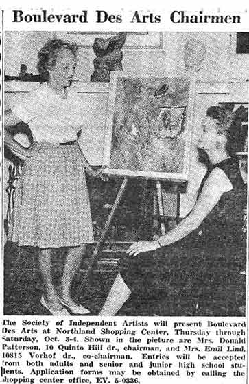 Newspaper photo of art festival chair(wo)men Geneva Patterson and Mrs. Emil Lind, St. Louis, 1963